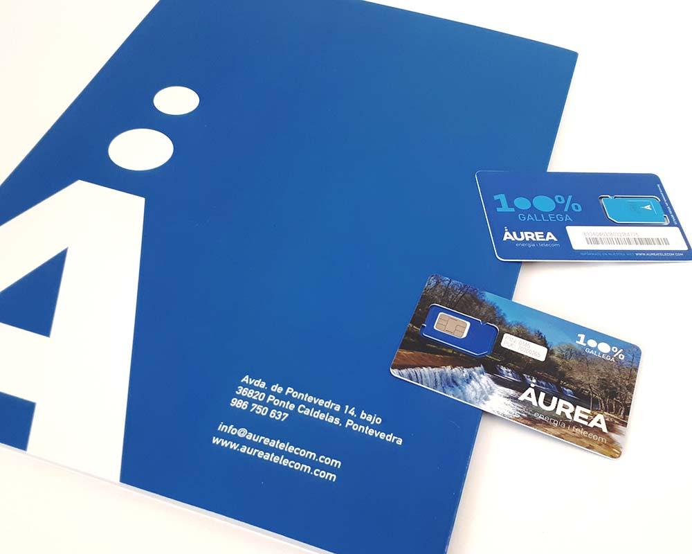 Diseño gráfico de tarjetas SIM para Áurea Telecom